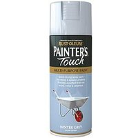 Product photograph showing Rust-oleum Painter Rsquo S Touch Winter Grey Gloss Finish Multi-purpose Spray Paint - 400ml