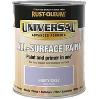 Product photograph showing Rust-oleum Misty Grey Universal Metal And All-surface Satin Finish Paint - 750ml