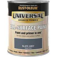 Product photograph showing Rust-oleum Gloss Finish Universal Metal And All-surface Paint Ndash Slate Grey 750ml