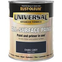 Product photograph showing Rust-oleum Universal Metal And All Surface Paint - Dark Grey Gloss 750ml
