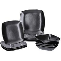 Product photograph showing Creative Tops Raven 12 Piece Black Stoneware Square Dinner Set