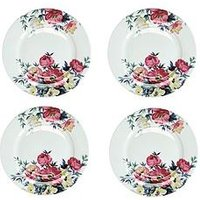 Product photograph showing Kitchencraft Mikasa Clovelly Pink Floral Dinner Plates Set Of 4