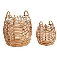 Product photograph showing Set Of 2 Round Rattan Baskets