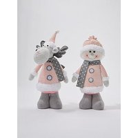 Product photograph showing Plush Reindeer And Snowman Room Decoration Set