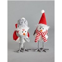 Product photograph showing Set Of 2 Grey Red Plush Robin Christmas Decorations