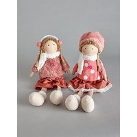 Product photograph showing Set Of 2 Pcs Fabric Girl Ornament