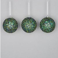 Product photograph showing Pack Of 6 Sequined Baubles - Green