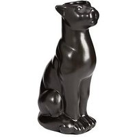Product photograph showing Ceramic Panther Decorative Ornament Tea Light Candle Holder - Black