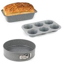 Product photograph showing Salter Marble Collection Bakeware Set With Loaf Baking Tray Muffin Tray And Baking Pan