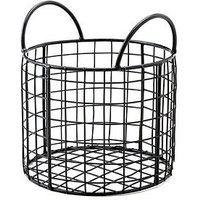 Product photograph showing Black Wire Round Basket