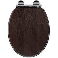 Product photograph showing Croydex Montoro Walnut-effect Flexi-fix Toilet Seat