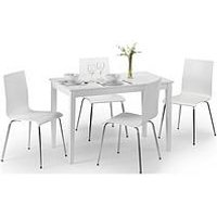 Product photograph showing Julian Bowen Set Of Taku Dining Table 4 Mandy White Chairs