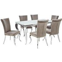 Product photograph showing Grace 160 Cm Rectangle Dining Table 6 Chairs - White Chrome