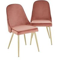 Product photograph showing Pair Of Ivy Velvet Dining Chairs - Dusky Pink