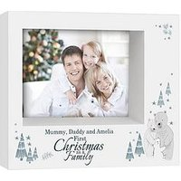 Product photograph showing Personalised Our First Family Christmas Photo Frame