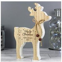 Product photograph showing Personalised Reindeer My 1st Christmas Wooden Decoration