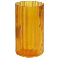 Product photograph showing Amber Ribbed Glass Vase