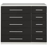 Product photograph showing Messina Gloss 5 5 Drawer Chest In White Black