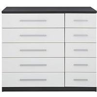 Product photograph showing Messina Gloss 5 5 Drawer Chest - Black White