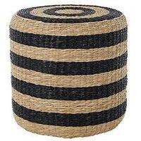image-Premier Housewares Ashby Seagrass Pouffe- Natural/Black