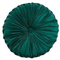 Product photograph showing Round Pleated Velvet Cushion - Emerald