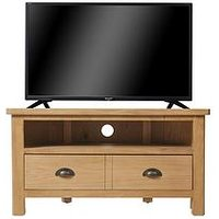 Product photograph showing K-interiors Shelton Ready Assembled Corner Tv Unit - Fits Up To 42 Inch Tv