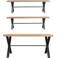 Product photograph showing K-interiors Waverton 130 Cm Dining Table 2 Benches