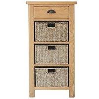 Product photograph showing K-interiors Shelton 1 Drawer 3 Basket Sideboard