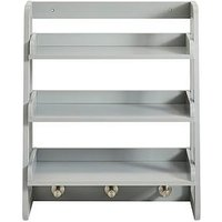 Product photograph showing Lloyd Pascal Portland Wall Mounted Shelving With Hooks - Grey