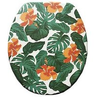 Product photograph showing Aqualona Tropical Leaf Wooden Toilet Seat