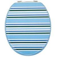 Product photograph showing Aqualona Nautical Stripe Wooden Toilet Seat