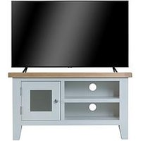 Product photograph showing K-interiors Harrow Ready Assembled Tv Unit - Fits Up To 45 Inch Tv - Grey Oak