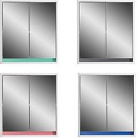 Product photograph showing Lloyd Pascal Olinda Double Door Mirrored Bathroom Cabinet With Reversible 4 In 1 Colour Bar