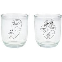 Product photograph showing Gisela Graham Set 2 Face Glass Tealight Holders
