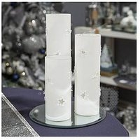 Product photograph showing Set Of 3 Led Star Frosted Glass Light Tubes With Mirror Base