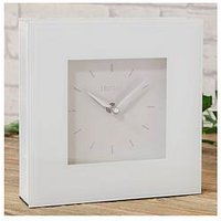 Product photograph showing White Glass Square Mantel Clock