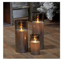 Product photograph showing Set Of 3 Smoked Grey Glass Led Pillar Candles