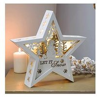 Product photograph showing Led Wooden Christmas Star - Let It Snow