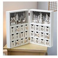 Product photograph showing White Gold Wooden Folding Advent Calendar Book