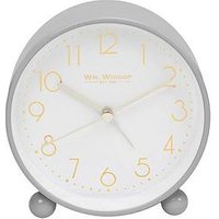 Product photograph showing Grey Metal Alarm Clock With Gold Dial