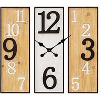 Product photograph showing Large 3 Panel Metal Wooden Wall Clock
