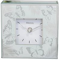 Product photograph showing Hestia Glass Butterfly Mantel Clock