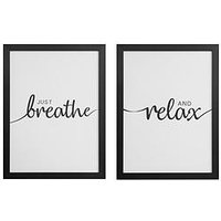 Product photograph showing Set Of 2 Framed Wall Art - Breathe Relax