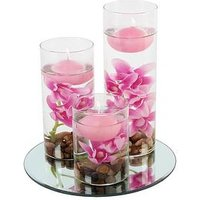 image-Set Of 3 Floating Candles With Vases And Pink Flowers