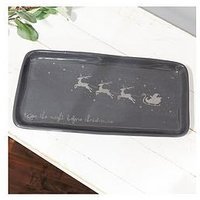 Product photograph showing Santa S Flying Sleigh Serving Plate