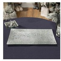 Product photograph showing Set Of 2 Silver Glitter Glass Serving Plate
