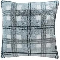 Product photograph showing Gallery Faux Fur Check Cushion - Grey