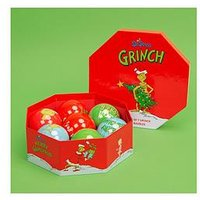 Product photograph showing The Grinch Set Of 7 Baubles In Lidded Gift Box