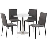 Product photograph showing Julian Bowen Milan 100 Cm Round Dining Table 4 Jazz Grey Chairs