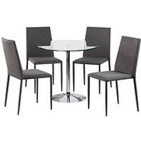 Product photograph showing Julian Bowen Kudos 80 Cm Round Dining Table 4 Jazz Chairs - Glass Grey